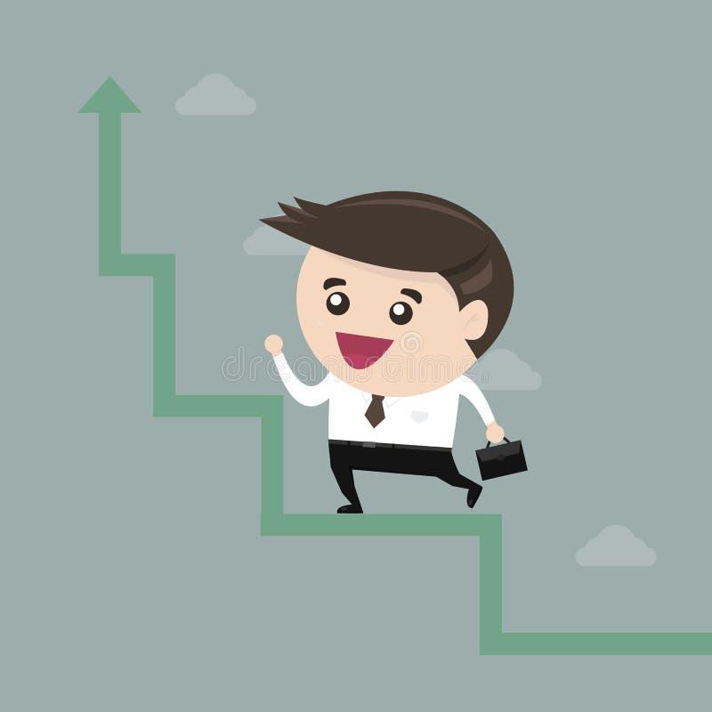 Επιχειρηματίας που οργανώνεται σε μια αύξηση, επίπεδο σχέδιο διανυσματική απεικόνιση
