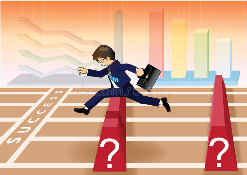 Επιχειρηματίας που οργανώνονται και άλμα πέρα από τα εμπόδια στη γραμμή επιτυχίας ελεύθερη απεικόνιση δικαιώματος