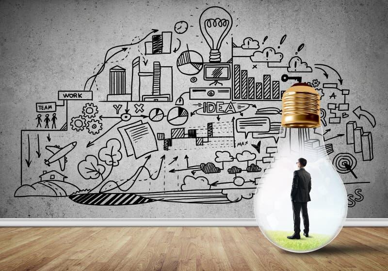 Επιχειρηματίας που παγιδεύεται στο βολβό ελεύθερη απεικόνιση δικαιώματος