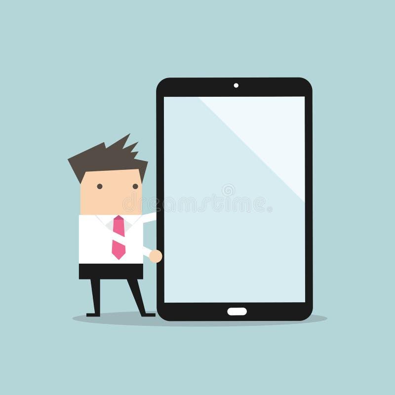 Επιχειρηματίας που παρουσιάζει για μια μεγάλο ταμπλέτα ή ένα smartphone ελεύθερη απεικόνιση δικαιώματος