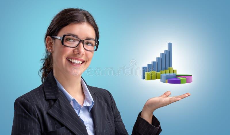 Επιχειρηματίας που παρουσιάζει οικονομικά διαγράμματα αύξησης στοκ εικόνες με δικαίωμα ελεύθερης χρήσης