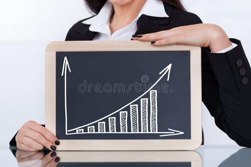Επιχειρηματίας που παρουσιάζει πίνακα κιμωλίας με το διάγραμμα στοκ φωτογραφία