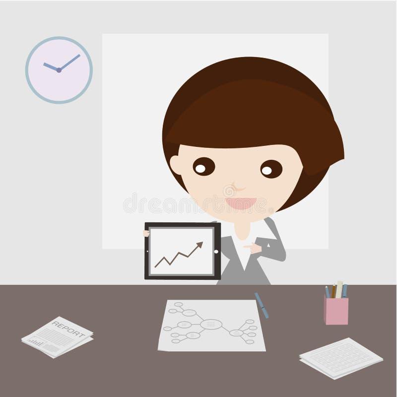 Επιχειρηματίας που παρουσιάζει την επιχειρησιακή έκθεση σχετικά με την οθόνη ταμπλετών ελεύθερη απεικόνιση δικαιώματος