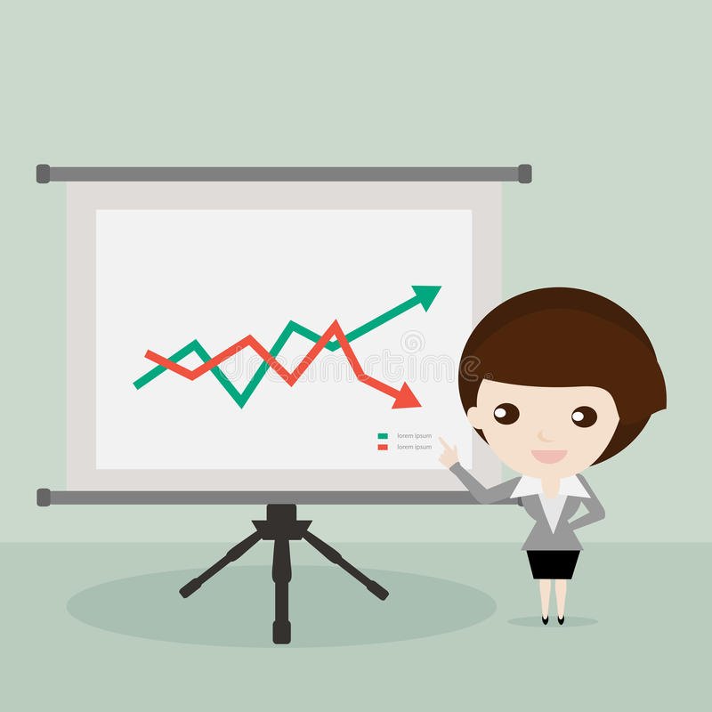 Επιχειρηματίας που παρουσιάζει τη γραφική παράσταση αποθεμάτων διανυσματική απεικόνιση