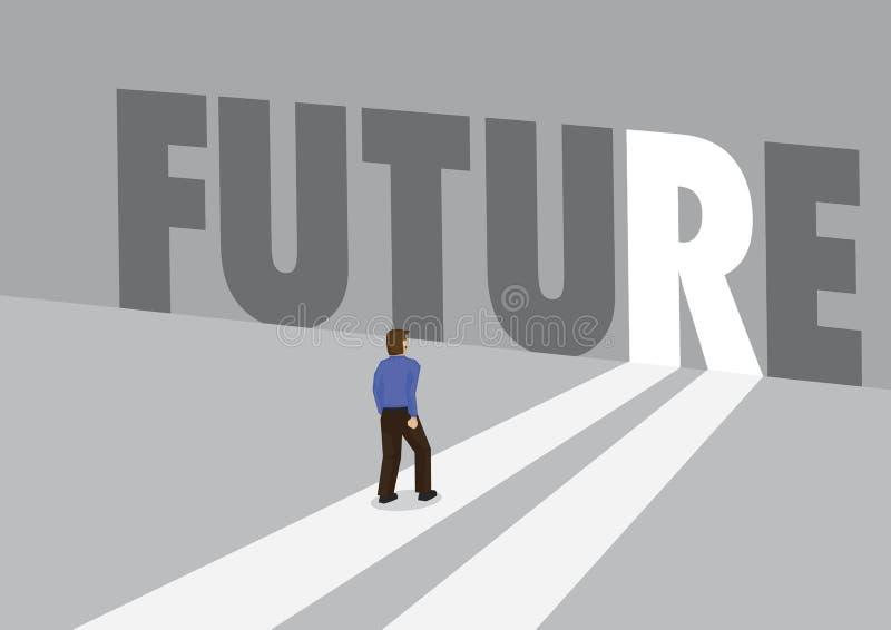 Επιχειρηματίας που περπατά προς μια ελαφριά πορεία με το μέλλον κειμένων Επιχειρησιακή έννοια του μέλλοντος, της καινοτομίας ή τη ελεύθερη απεικόνιση δικαιώματος