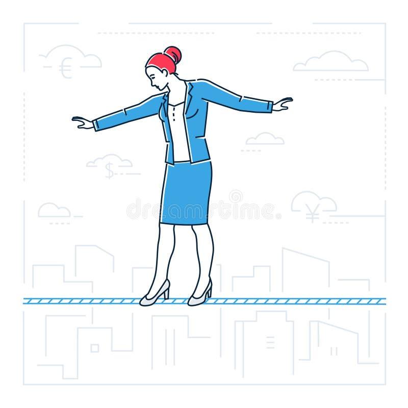 Επιχειρηματίας που περπατά σε μια απομονωμένη ύφος απεικόνιση σχεδίου γραμμών καλωδίων απεικόνιση αποθεμάτων
