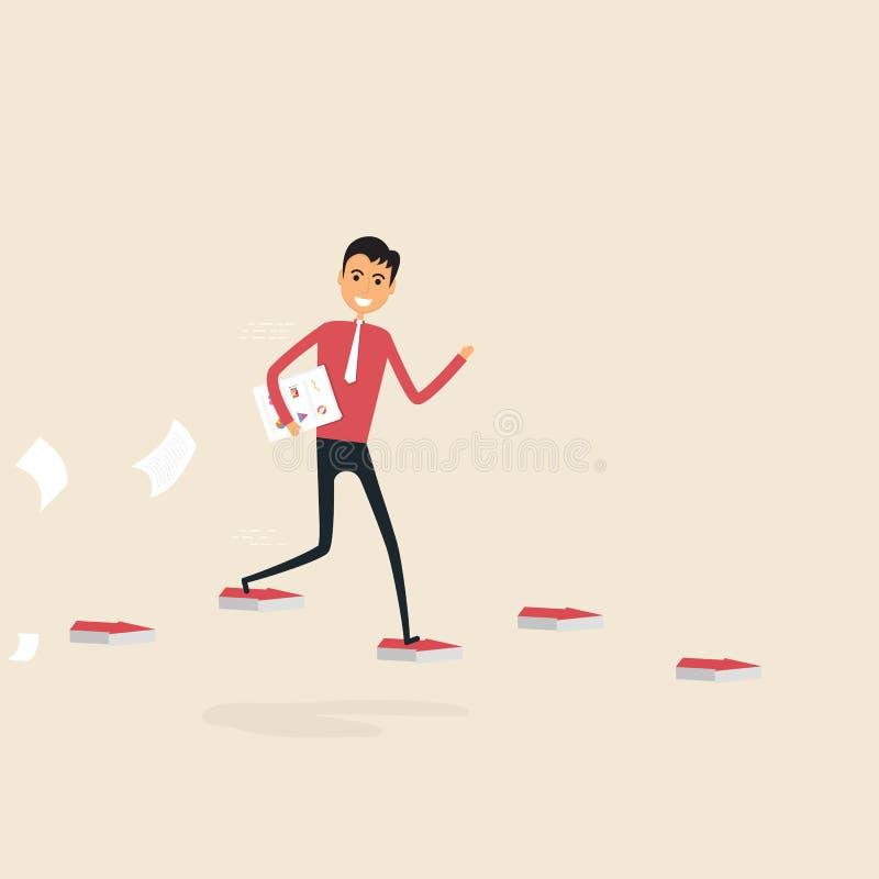 Επιχειρηματίας που περπατά στα κόκκινα βέλη τρόπος επιτυχίας Έννοια για απεικόνιση αποθεμάτων