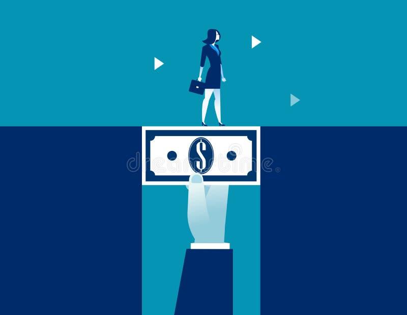 Επιχειρηματίας που περπατά στα χρήματα δολαρίων που γεφυρώνουν το χάσμα Επιχειρησιακή διανυσματική απεικόνιση έννοιας διανυσματική απεικόνιση