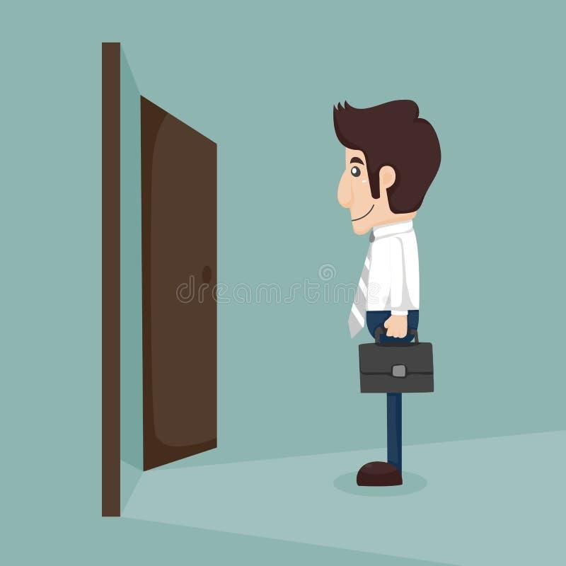 Επιχειρηματίας που περπατά στην ανοιγμένη πόρτα απεικόνιση αποθεμάτων