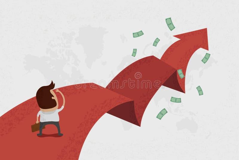 Επιχειρηματίας που περπατά στην κόκκινη οδό ελεύθερη απεικόνιση δικαιώματος