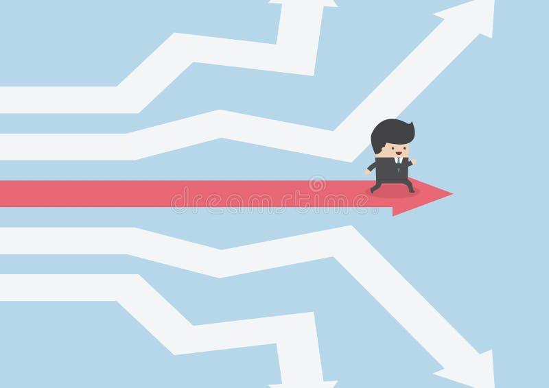 Επιχειρηματίας που περπατά στο δρόμο της επιτυχίας απεικόνιση αποθεμάτων
