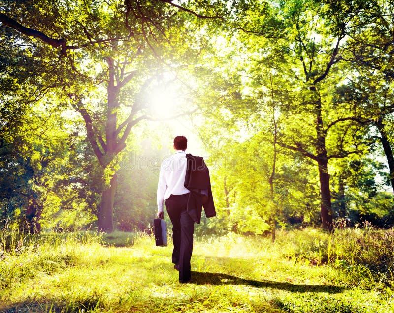 Επιχειρηματίας που περπατά υπαίθρια την έννοια ξύλων φύσης στοκ φωτογραφία με δικαίωμα ελεύθερης χρήσης