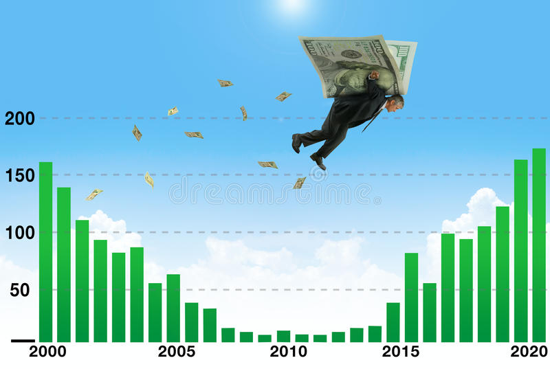 Επιχειρηματίας που πετά στα ύψη στα φτερά των χρημάτων πέρα από το χαμηλό μέρος αποδοχών της γραφικής παράστασης στοκ φωτογραφία με δικαίωμα ελεύθερης χρήσης