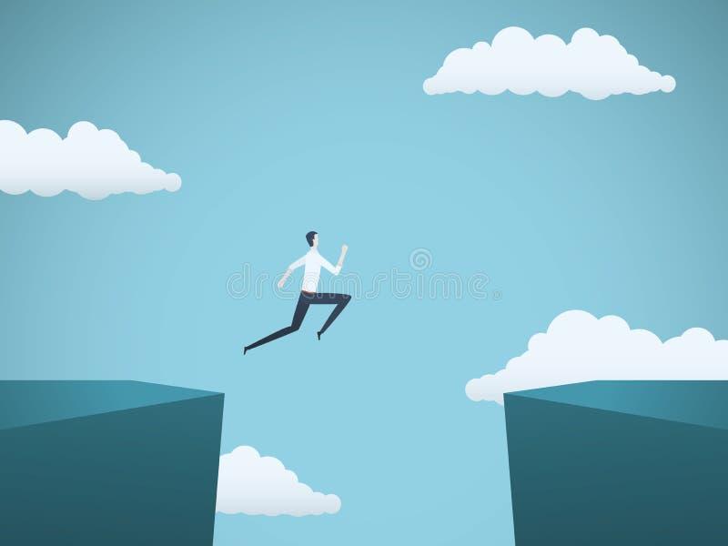 Επιχειρηματίας που πηδά πέρα από το χάσμα μεταξύ της διανυσματικής έννοιας απότομων βράχων Σύμβολο του επιχειρησιακού κινδύνου, ε απεικόνιση αποθεμάτων