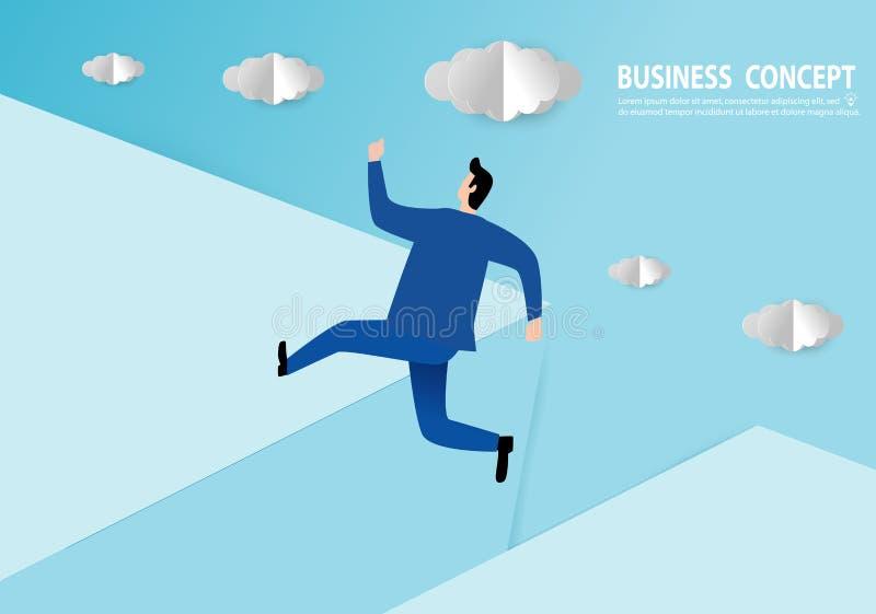 Επιχειρηματίας που πηδά πέρα από το χάσμα, ύφος τέχνης εγγράφου, διανυσματικό επίπεδο σχέδιο επιχειρησιακής έννοιας ανθρώπων διανυσματική απεικόνιση