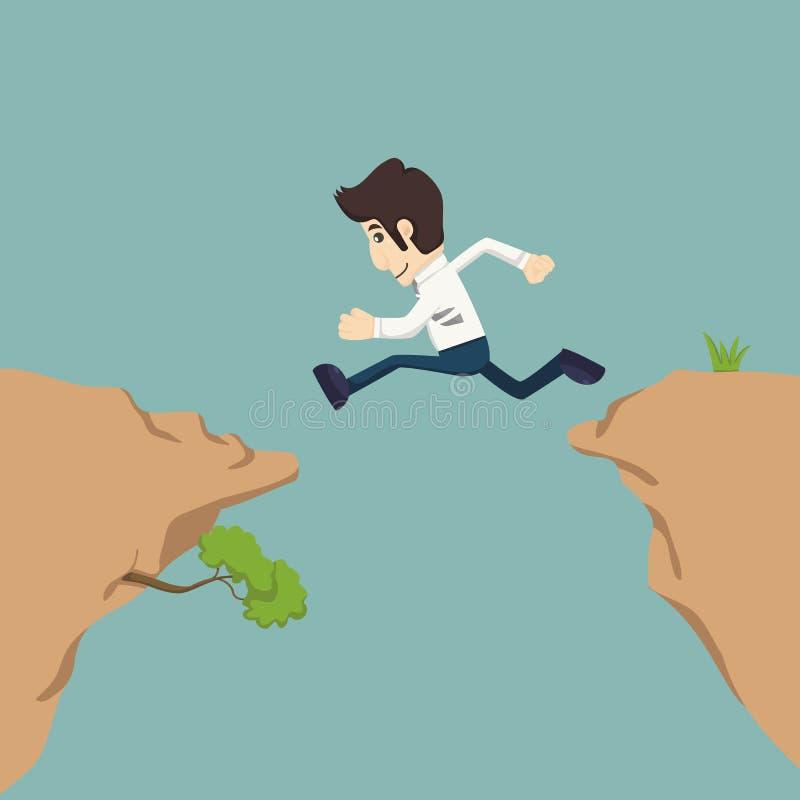 Επιχειρηματίας που πηδά πέρα από το χάσμα διανυσματική απεικόνιση