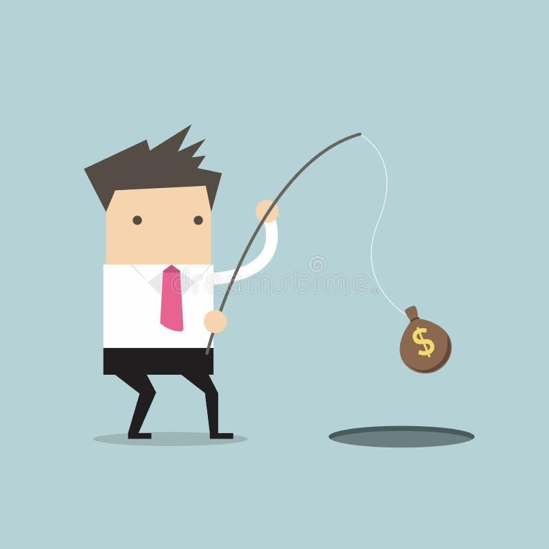 Επιχειρηματίας που πιάνει τα χρήματα με την αλιεία της ράβδου απεικόνιση αποθεμάτων