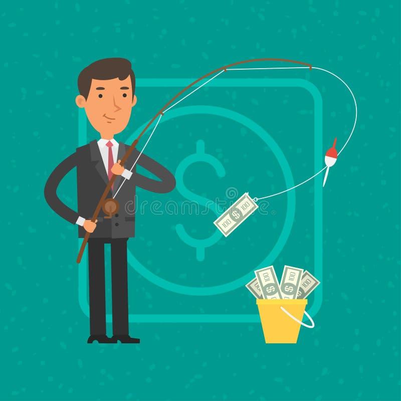 Επιχειρηματίας που πιάνει τα χρήματα στην αλιεία της ράβδου διανυσματική απεικόνιση