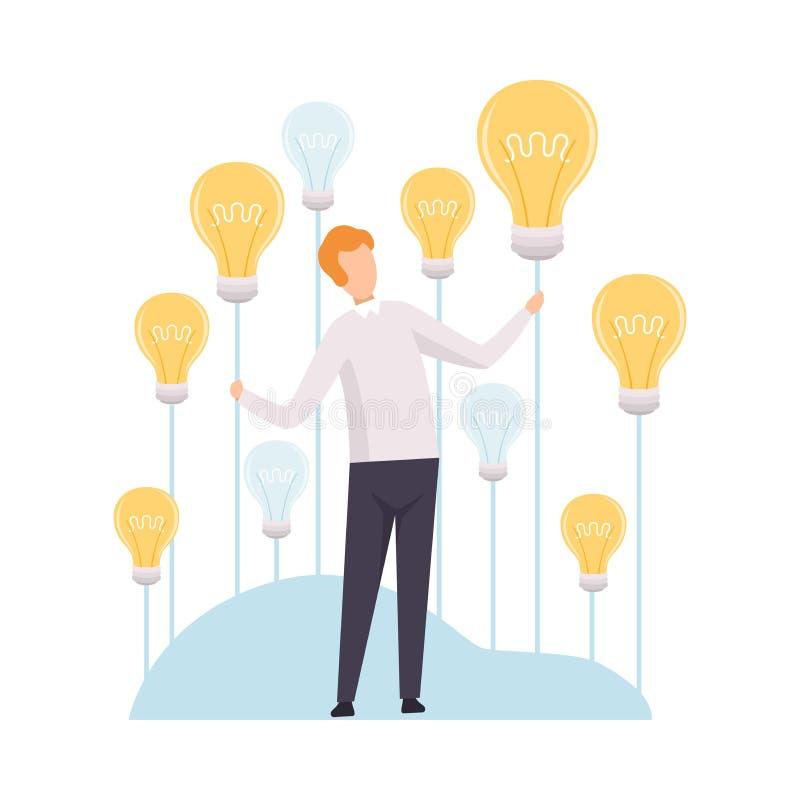 Επιχειρηματίας που πιάνει την ιδέα λαμπών φωτός, 'brainstorming', καινοτομία, δημιουργική διανυσματική απεικόνιση έννοιας σκέψης ελεύθερη απεικόνιση δικαιώματος