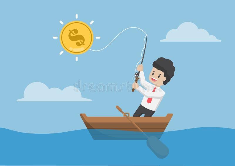 Επιχειρηματίας που πιάνει το νόμισμα δολαρίων με την αλιεία της ράβδου ελεύθερη απεικόνιση δικαιώματος