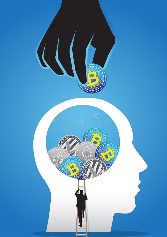 Επιχειρηματίας που προσπαθεί να πάρει crypto το νόμισμα μέσα στο μεγάλο κεφάλι ελεύθερη απεικόνιση δικαιώματος
