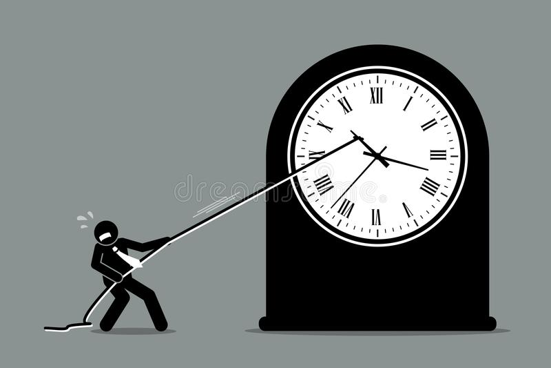 Επιχειρηματίας που προσπαθεί να σταματήσει το ρολόι από την κίνηση ελεύθερη απεικόνιση δικαιώματος