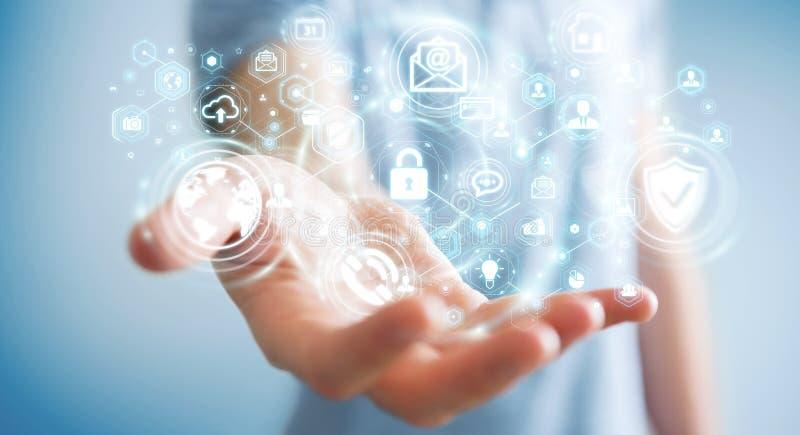Επιχειρηματίας που προστατεύει το τρισδιάστατο renderin προσωπικής πληροφορίας στοιχείων του διανυσματική απεικόνιση