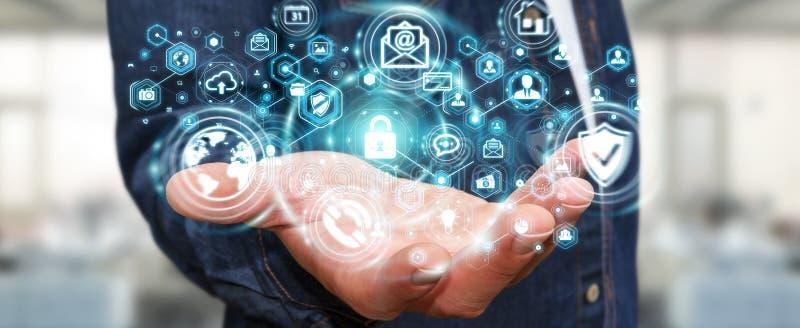 Επιχειρηματίας που προστατεύει το τρισδιάστατο renderin προσωπικής πληροφορίας στοιχείων του απεικόνιση αποθεμάτων