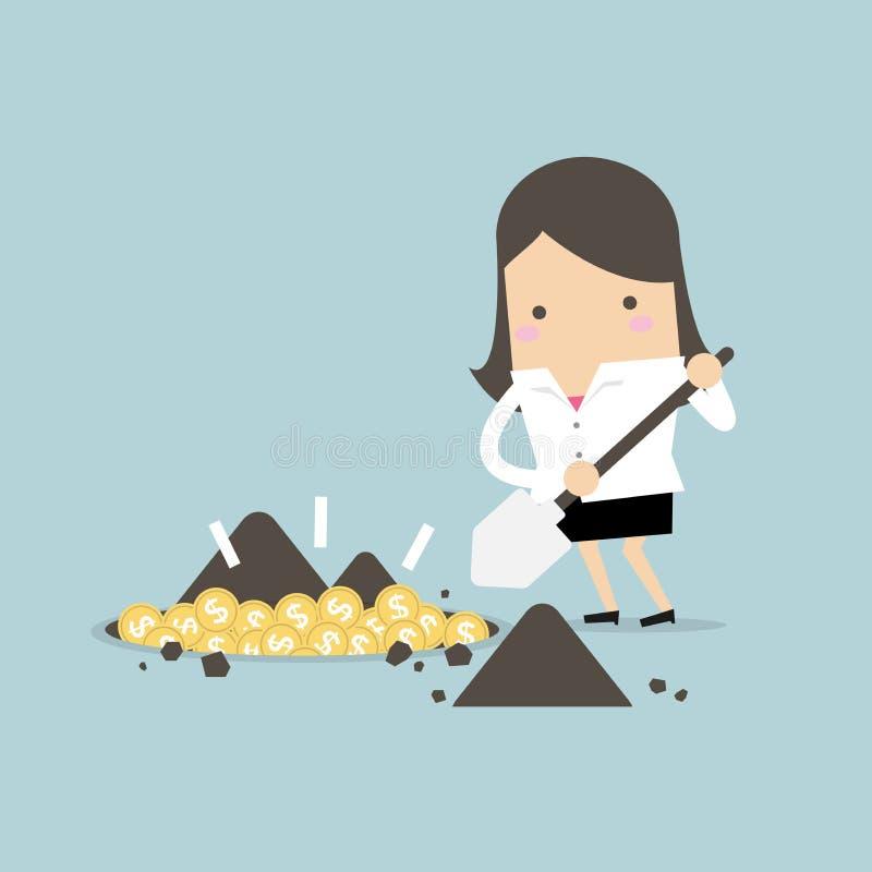 Επιχειρηματίας που σκάβει ένα έδαφος για να βρεί το νόμισμα θησαυρών απεικόνιση αποθεμάτων