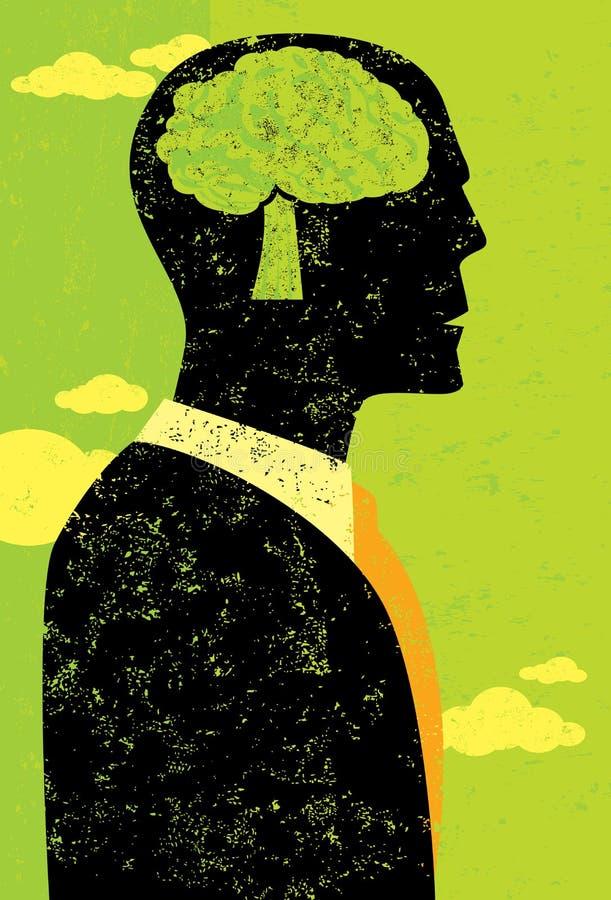 Επιχειρηματίας που σκέφτεται πράσινος απεικόνιση αποθεμάτων