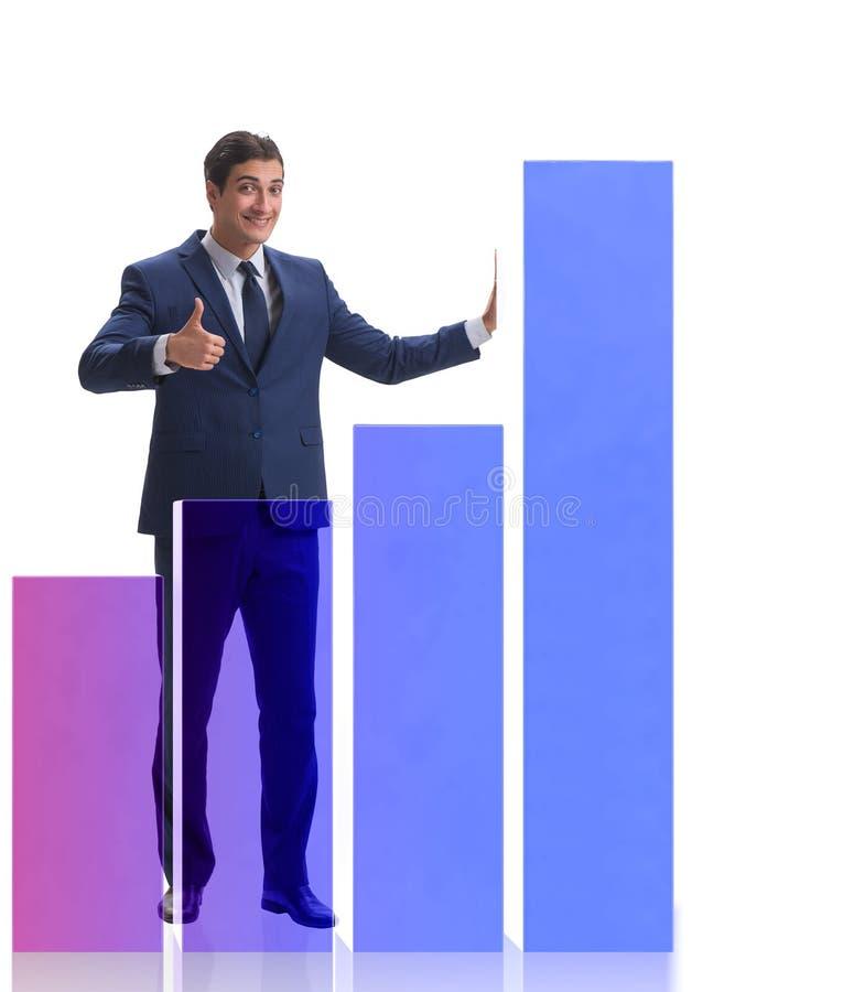 Επιχειρηματίας που στέκεται δίπλα στο ιστόγραμμα στο άσπρο υπόβαθρο στοκ φωτογραφίες