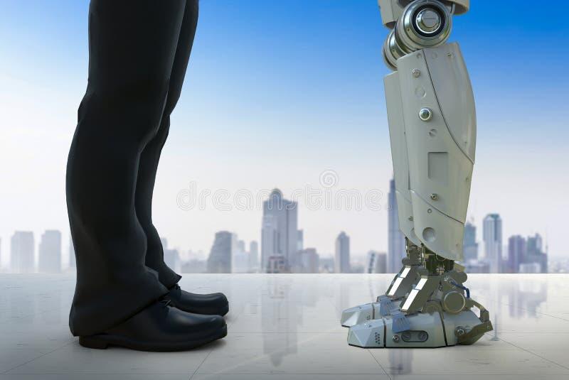 Επιχειρηματίας που στέκεται με το ρομπότ ελεύθερη απεικόνιση δικαιώματος