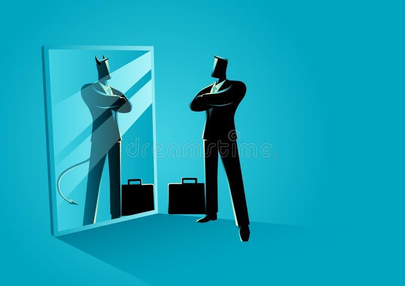 Επιχειρηματίας που στέκεται μπροστά από έναν καθρέφτη, που απεικονίζει έναν διάβολο απεικόνιση αποθεμάτων