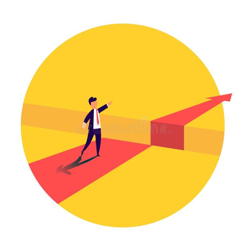 Επιχειρηματίας που στέκεται μπροστά από το εμπόδιο, χάσμα στον τρόπο στην επιτυχία, επιχειρησιακή έννοια της επίλυσης του προβλήμ διανυσματική απεικόνιση