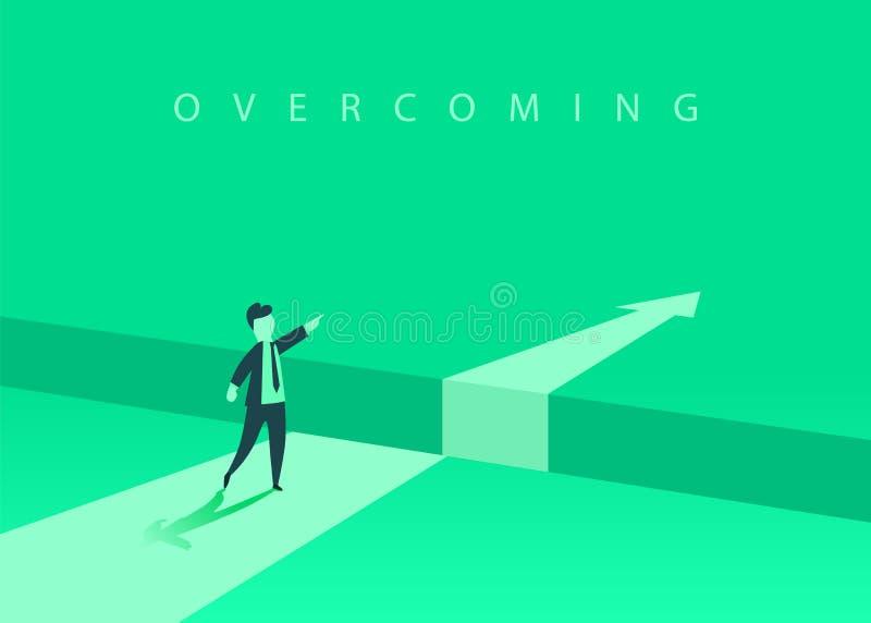 Επιχειρηματίας που στέκεται μπροστά από το εμπόδιο, χάσμα στον τρόπο στην επιτυχία, επιχειρησιακή έννοια της επίλυσης του προβλήμ απεικόνιση αποθεμάτων