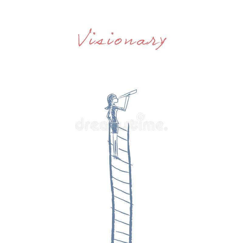 Επιχειρηματίας που στέκεται πάνω από την εταιρική διανυσματική απεικόνιση σκαλών ως σύμβολο της επιχειρησιακής σταδιοδρομίας, ορα απεικόνιση αποθεμάτων