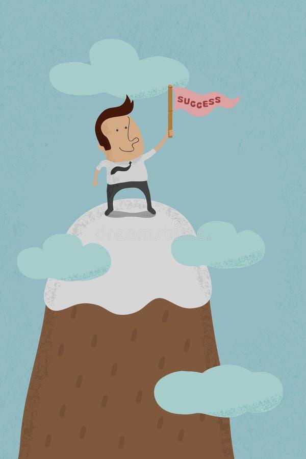 Επιχειρηματίας που στέκεται στην κορυφή ενός υψηλού βουνού ελεύθερη απεικόνιση δικαιώματος