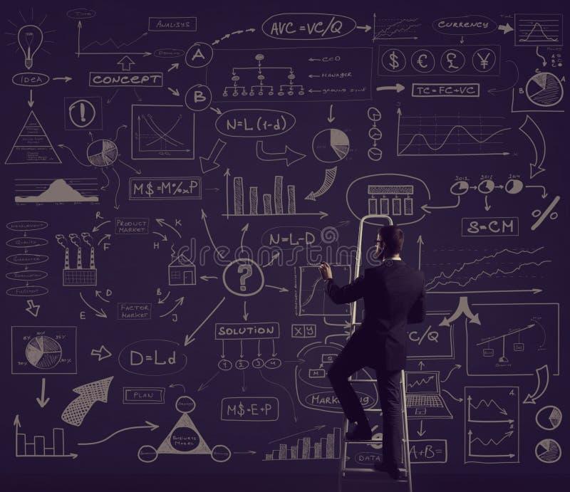 Επιχειρηματίας που στέκεται στο stepladder Σχηματικό υπόβαθρο Busin απεικόνιση αποθεμάτων
