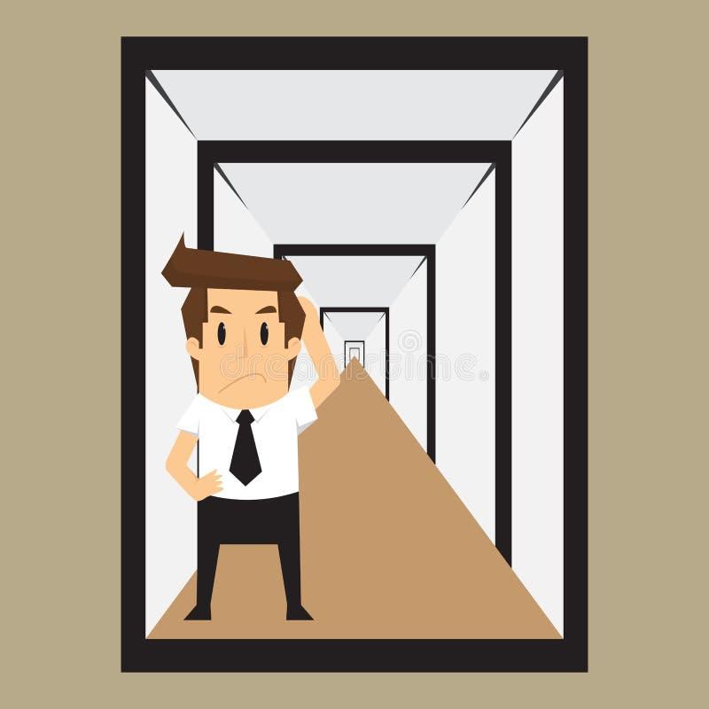 Επιχειρηματίας που συγχέεται με την παραίσθηση, με την επίλυση προβλήματος απεικόνιση αποθεμάτων