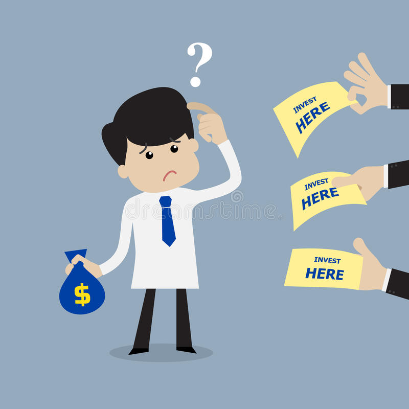 Επιχειρηματίας που συγχέεται πού να επενδύσει διανυσματική απεικόνιση