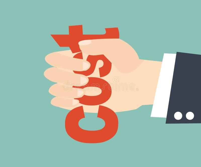 Επιχειρηματίας που συμπιέζει το κόστος λέξης διανυσματική απεικόνιση