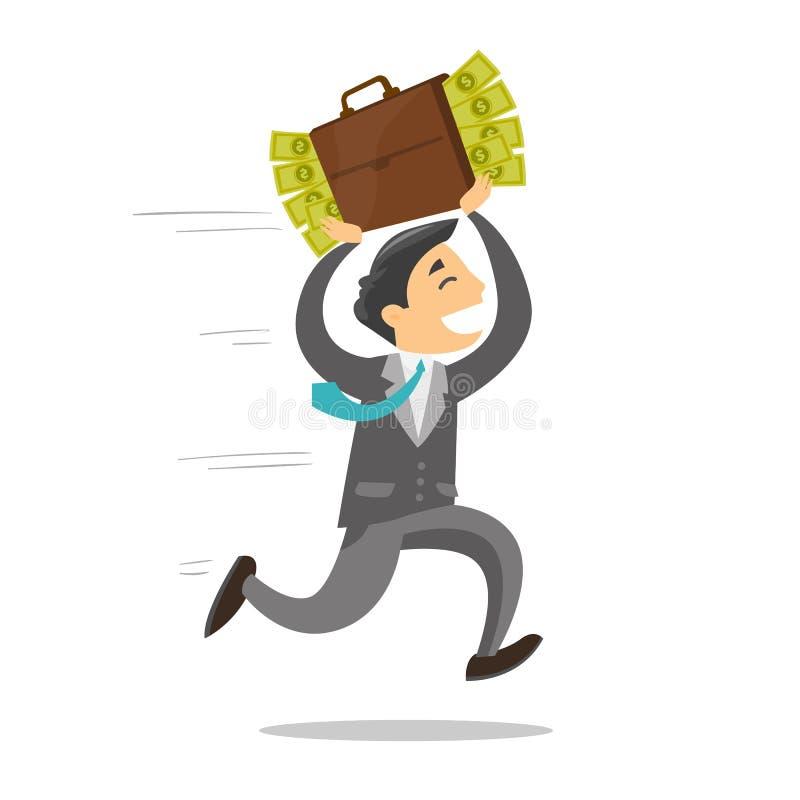 Επιχειρηματίας που τρέχει με το σύνολο χαρτοφυλάκων των χρημάτων διανυσματική απεικόνιση