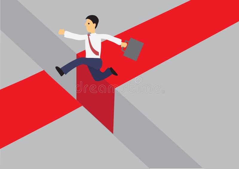 Επιχειρηματίας που τρέχει σε έναν κόκκινο δρόμο και που πηδά πέρα από Î απεικόνιση αποθεμάτων
