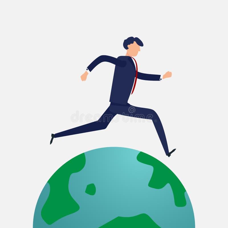 Επιχειρηματίας που τρέχει σε όλο τον κόσμο Επίπεδη έννοια σχεδίου και σχεδίου χαρακτήρα Επιχείρηση και θέμα ανθρώπων ελεύθερη απεικόνιση δικαιώματος