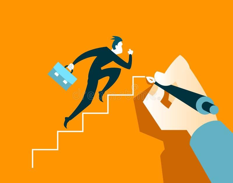 Επιχειρηματίας που τρέχει στα βήματα Το χέρι σύρει μια σκάλα ελεύθερη απεικόνιση δικαιώματος
