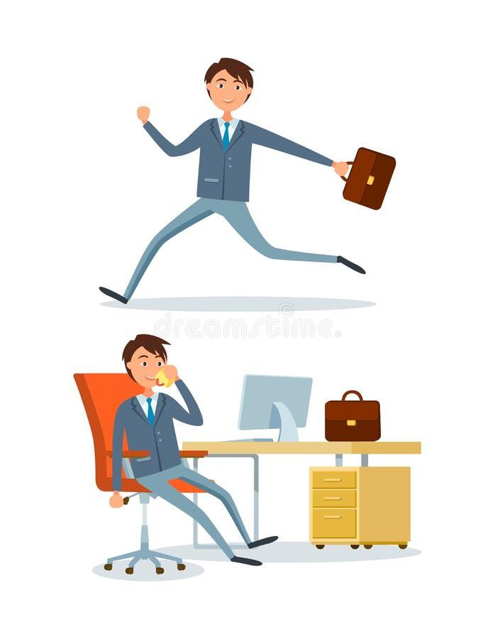 Επιχειρηματίας που τρέχει στην εργασία, πρόσωπο στην αρχή απεικόνιση αποθεμάτων
