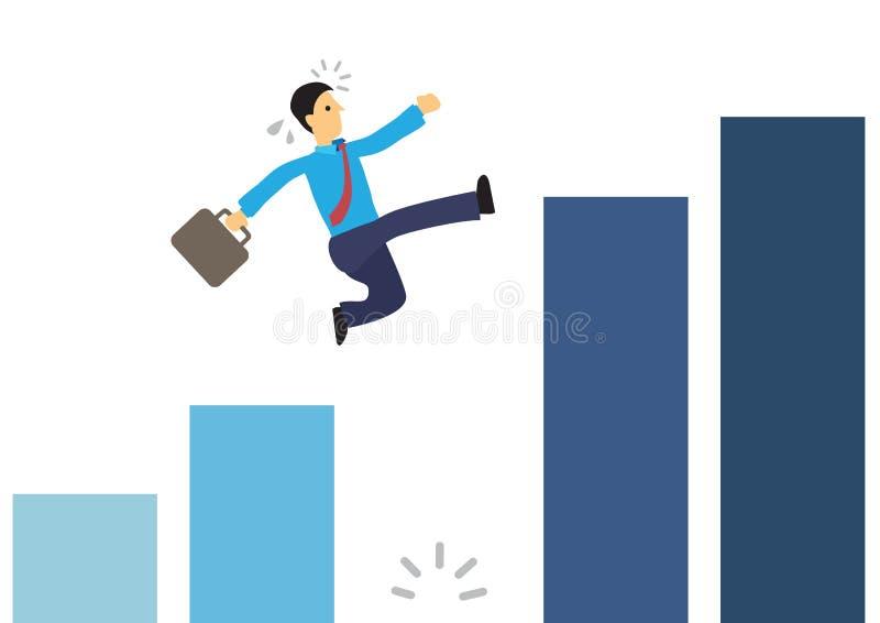 Επιχειρηματίας που τρέχει στη γραφική παράσταση και που πηδά πέρα από ένα γιγαντιαίο χάσμα ελεύθερη απεικόνιση δικαιώματος