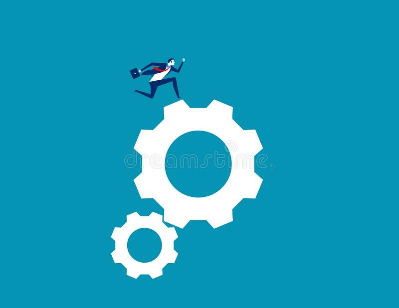 Επιχειρηματίας που τρέχει στο εργαλείο Επιχειρησιακή διανυσματική απεικόνιση έννοιας, επίπεδος χαρακτήρας, ύφος κινούμενων σχεδίω διανυσματική απεικόνιση
