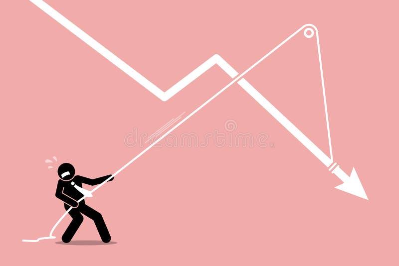 Επιχειρηματίας που τραβά ένα μειωμένο διάγραμμα γραφικών παραστάσεων βελών από την περαιτέρω μείωση κάτω απεικόνιση αποθεμάτων