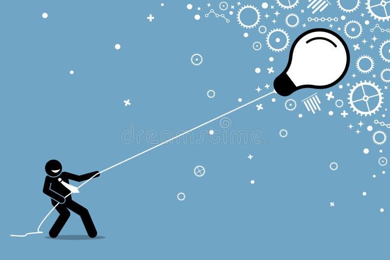 Επιχειρηματίας που τραβά μια πετώντας επιπλέουσα λάμπα φωτός σε μια σειρά διανυσματική απεικόνιση